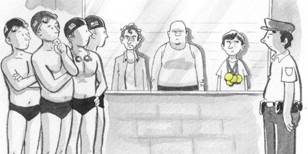 Ilustração retratava episódio de suposto assalto aos nadadores (Crédito:Reprodução/New Yorker)