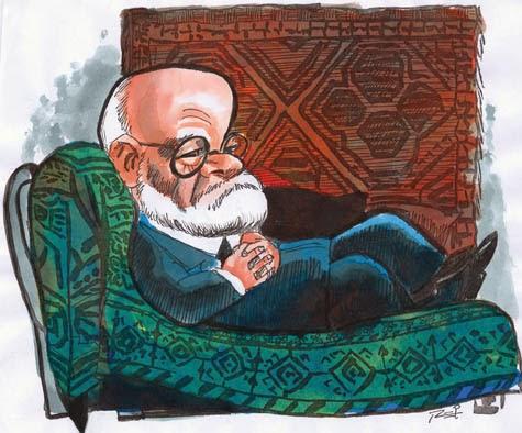 Freud no divã (caricatura por Reinaldo)