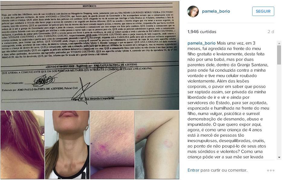 Pâmela prestou queixa e exibiu marcas de agressão nas redes sociais (Foto: Arquivo/osul.com.br)